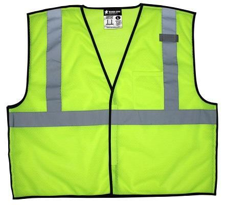 "VBCL2ML - Safety Vest, Economy Class 2 Mesh, Break away, 2"" Silver Reflective, Hook & Loop Front, Lime"