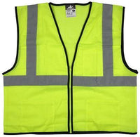 "VCL2MLZ - Safety Vest, Economy Class 2 Mesh, 2"" Silver Reflective, Zipper Front, 3 Pockets, Lime"