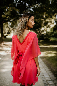 Robe corail/rose/orange