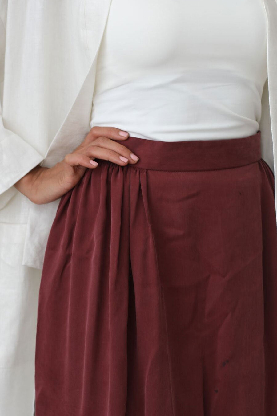 High-Waisted Silk Skirt