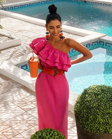 Ruffled-Pink One-Shouldered Dress
