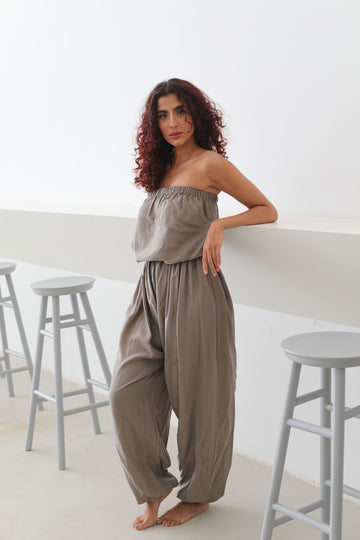Sleeveless Silk Overall