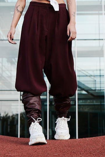 Wide Leg Burgundy Pants