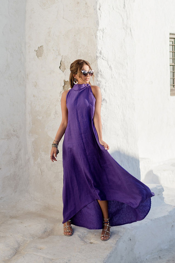 Dark Lavender High-Necked Dress