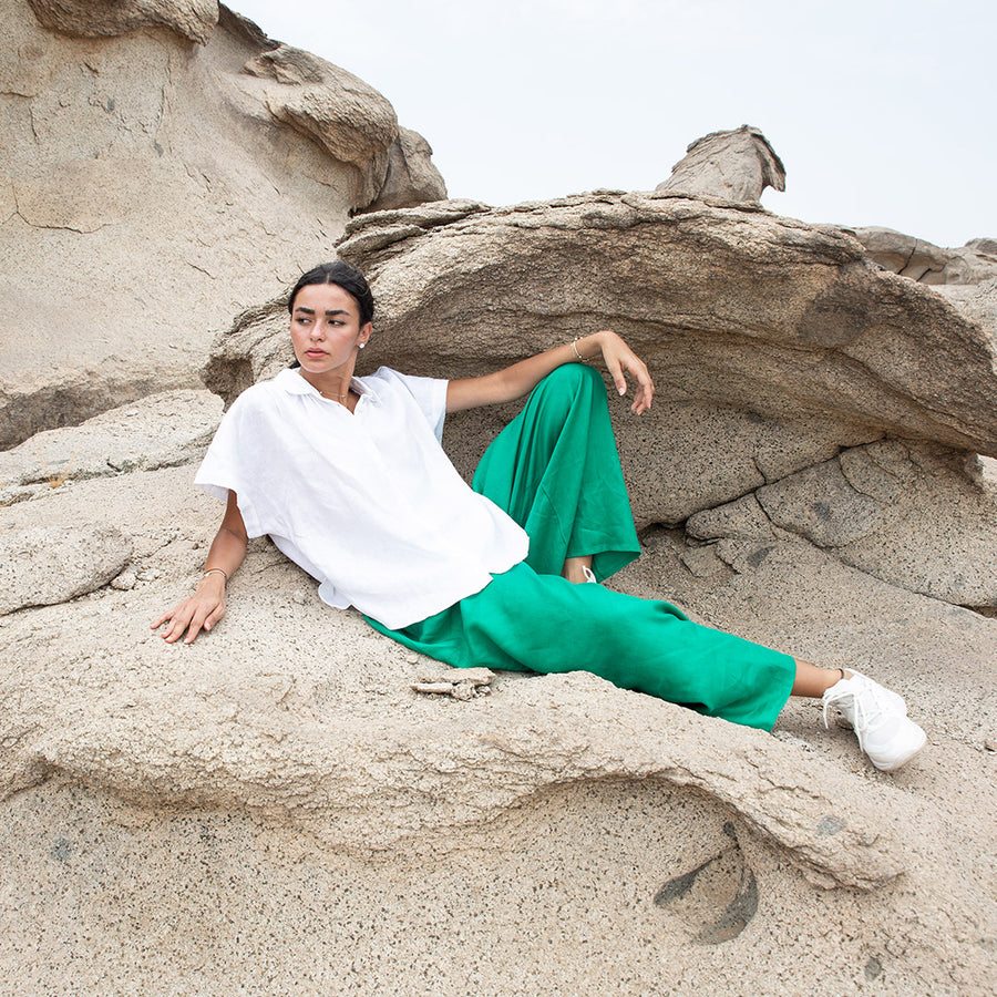 Jade Green Straight-Cut Flowing Trousers