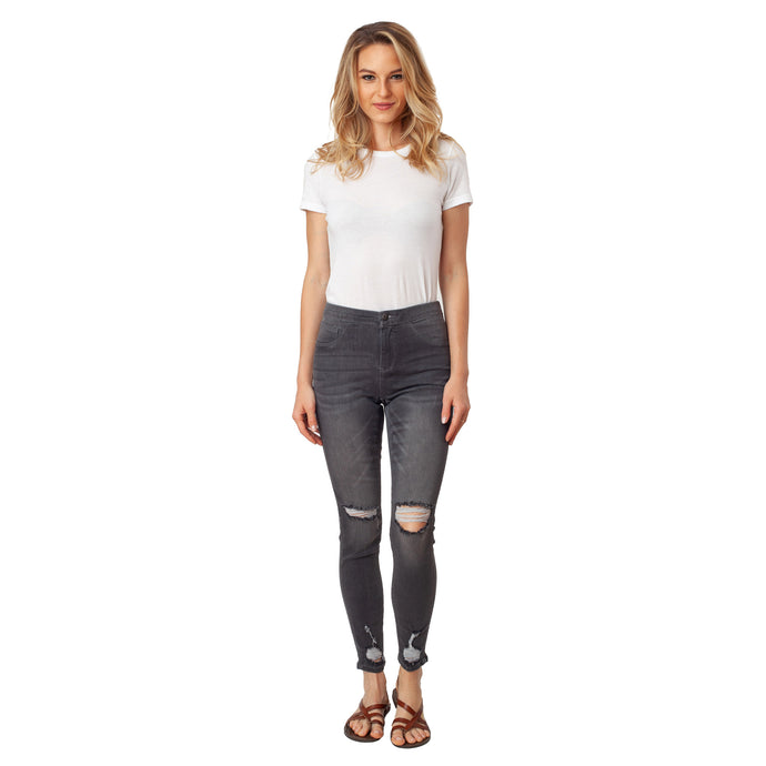 CCJ6013 Ripped Leg Fashion Style - Ceniajeans