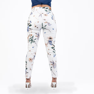 White and Purple Printed Capris Jeans - Ceniajeans