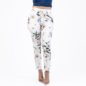 CCJ6065 White/Purple Printed Capris_NEW - Ceniajeans