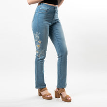 Load image into Gallery viewer, Beautiful tonal thick embroidery on both sides of the legs make this stylish bootcut Convi, with just the right amount of flare, reminiscent of the 70's with a modern twist.