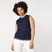 Load image into Gallery viewer, Sleeveless Mix-Media Blouse - Ceniajeans