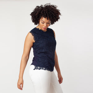 Sleeveless Mix-Media Blouse - Ceniajeans
