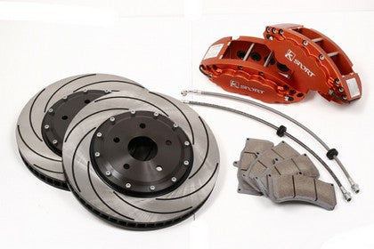 KSport Front Brake Kit - ProComp 8 Piston - 14 Inch, Orange, Aluminum Calipers - Tuned Motoring