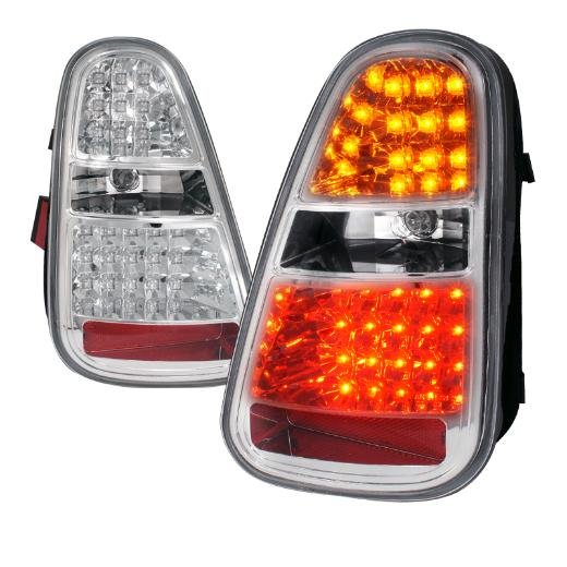 Spec D LED Chome Tail Lights For Gen 1 Mini Cooper R50, R52, R53 - Tuned Motoring