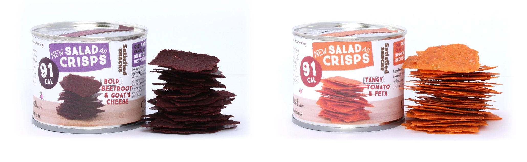 beetroot, goat's cheese, tomato and feta salad crisps