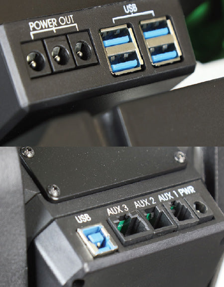 Includes four USB 3.0 ports, three 2.1mm power ports, and three serial ports