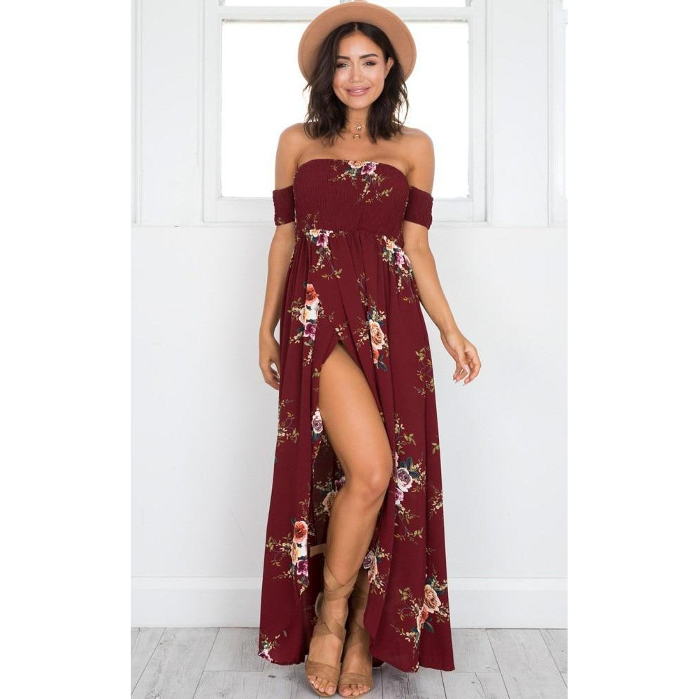 Boho style long dress women Off shoulder beach summer dresses Floral print  Vintage chiffon white maxi 0093f505b9