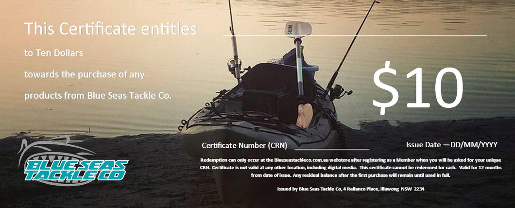 Blue Seas Tackle Co Gift Certificates. Start from $10.