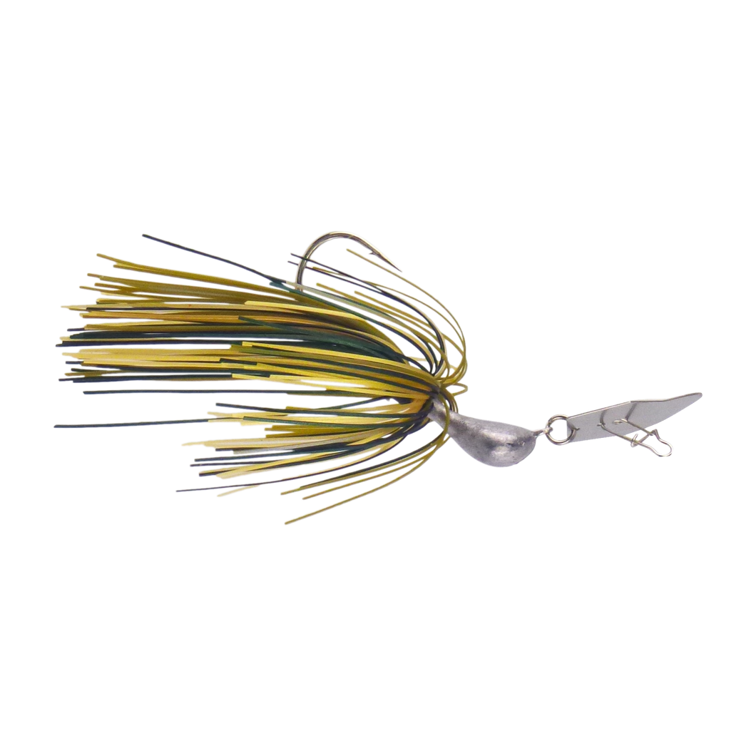 Dekoi 7gm Bladed Swim Jig, Chatterbait, Camo Green, 2 pack