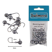 Load image into Gallery viewer, Swimerz Round Jig Head, 1/2 oz 2/0 Hook, 8 pack