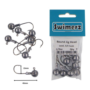 Swimerz Round Jig Head, 1/2 oz 2/0 Hook, 8 pack