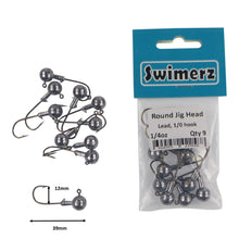 Load image into Gallery viewer, Swimerz Round Jig Head, 1/4 oz #1 Hook, 9 pack