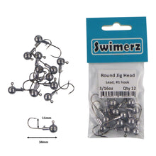 Load image into Gallery viewer, Swimerz Round Jig Head, 3/16 oz #1 Hook, 12 pack