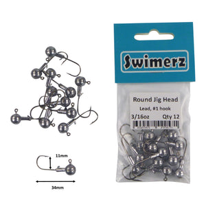 Swimerz Round Jig Head, 3/16 oz #1 Hook, 12 pack