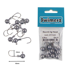 Load image into Gallery viewer, Swimerz Round Jig Head, 3/8 oz 2/0 Hook, 9 pack
