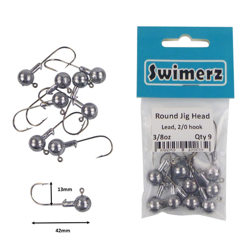 Swimerz Round Jig Head, 3/8 oz 2/0 Hook, 9 pack