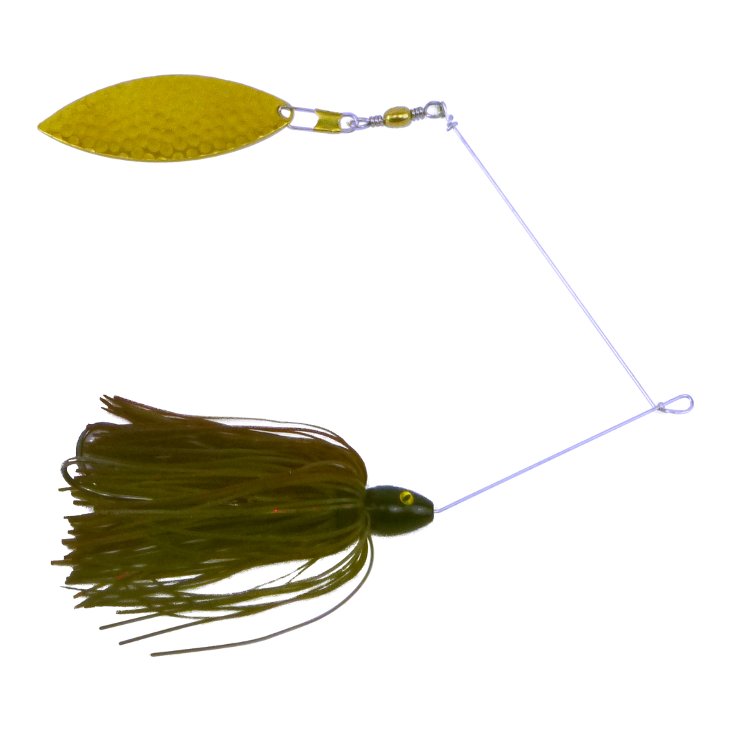 Artizan 'Double Trouble' 11/4oz Green Pumpkin Spinnerbait, Brass Blade