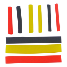 Load image into Gallery viewer, Swimerz Assist Hook Sleeves, 4mm Shrink Tube, Black, Yellow & Red, 50mm. Qty 45.