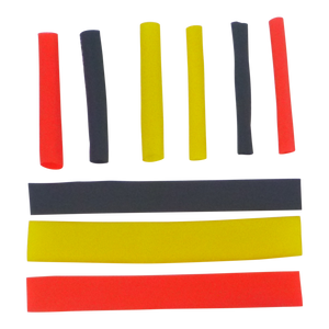 Swimerz Assist Hook Sleeves, 4mm Shrink Tube, Black, Yellow & Red, 50mm. Qty 45.