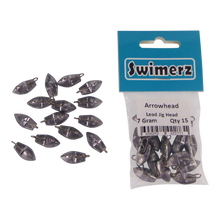 Load image into Gallery viewer, Swimerz 7gm Arrowhead Jig Head, 1/4oz, Lead, 15 pack