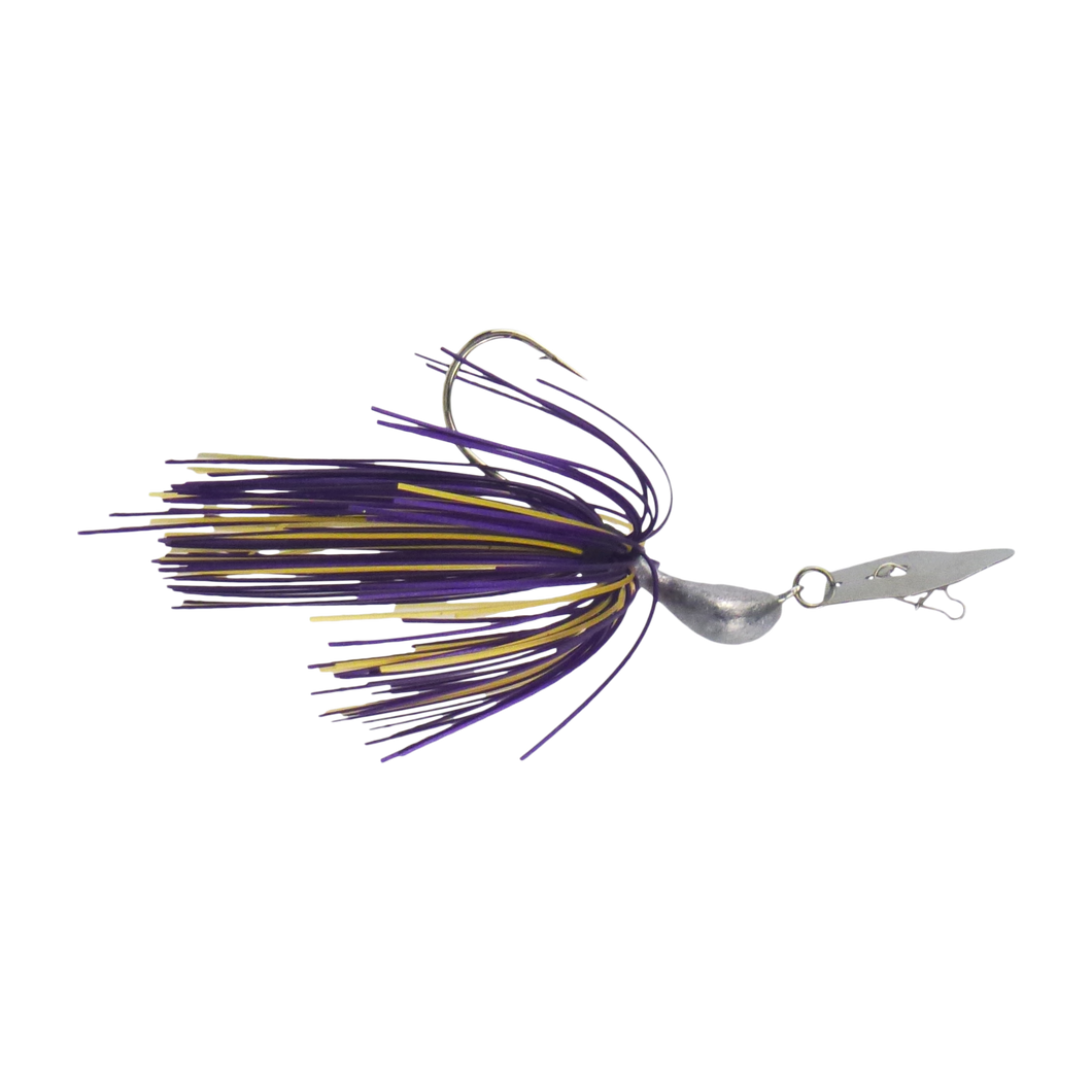 Dekoi 7gm Bladed Swim Jig, Chatterbait, Purple Gold, 2 pack