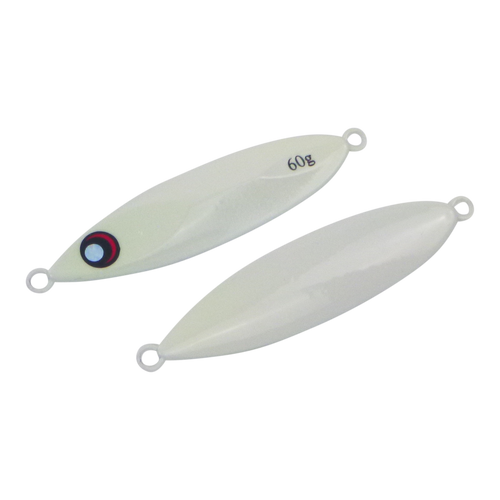 Finesse Slow Pitch Flutter Jig, 60gm, Lumo White, 2 pack