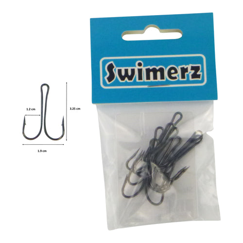 Swimerz Size 1/0 Extra Strong Double Hook 8 Pack