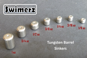 Swimerz 1/8oz Tungsten Barrel Sinker, Qty 10 per Pack.