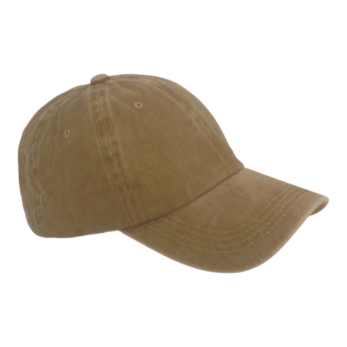 BSTC 6-Panel Baseball Cap, Distressed Cotton, Tan
