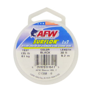 AFW HI SEAS Surflon 7 Strand 135lb coated Leader Wire, 30ft length