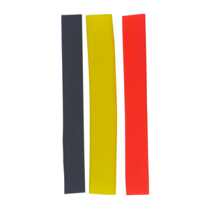 Swimerz Assist Hook Sleeves, 8/10mm Shrink Tube, Black, Yellow & Red, 100mm. Qty 30.