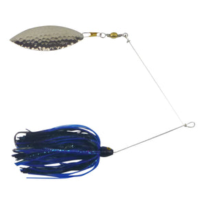 Artizan 'Double Trouble' 1/2oz Blue Black Spinnerbait, Nickel Blade