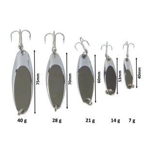 Finesse Chrome Kaster Jig, 40 Grams. Pack of 2 Jigs.