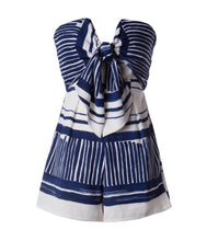 Load image into Gallery viewer, Navy Tie Front Romper