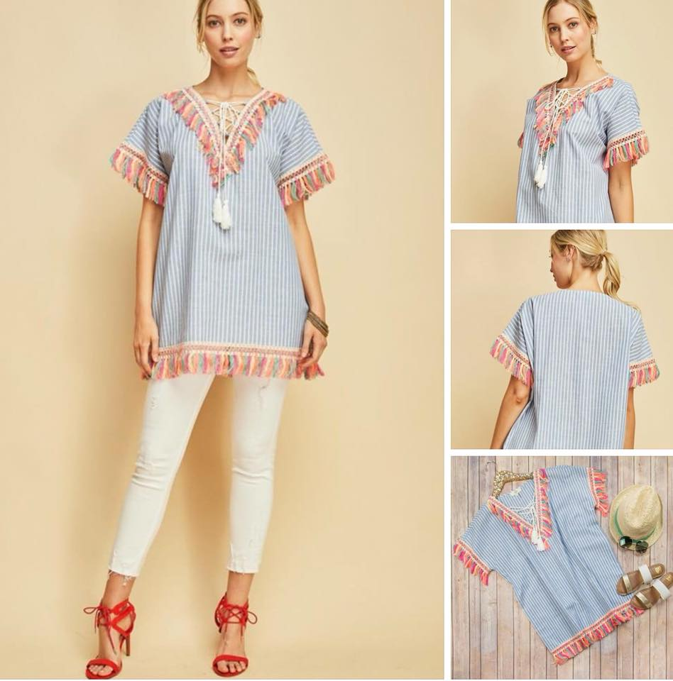 Striped Fringe Blue Tunic
