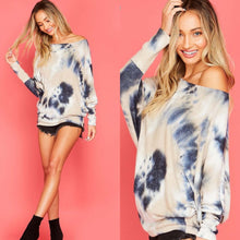 Load image into Gallery viewer, Navy tie dye top