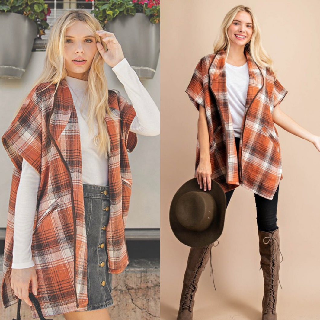 Pumpkin patch Plaid poncho