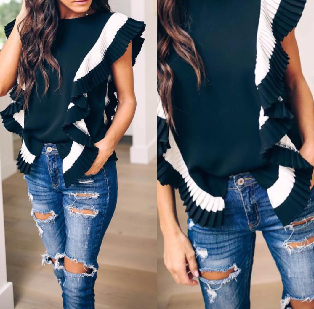 Black and White Ruffle Top