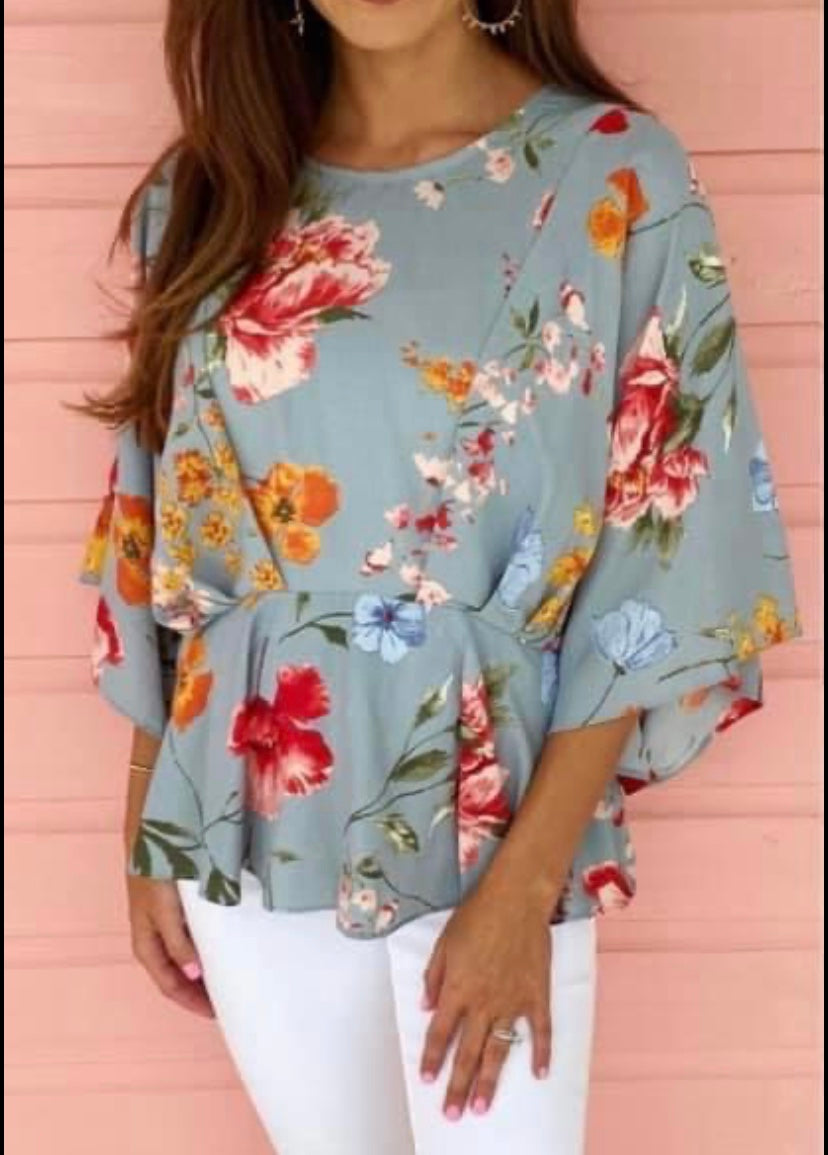 Cool blue floral top