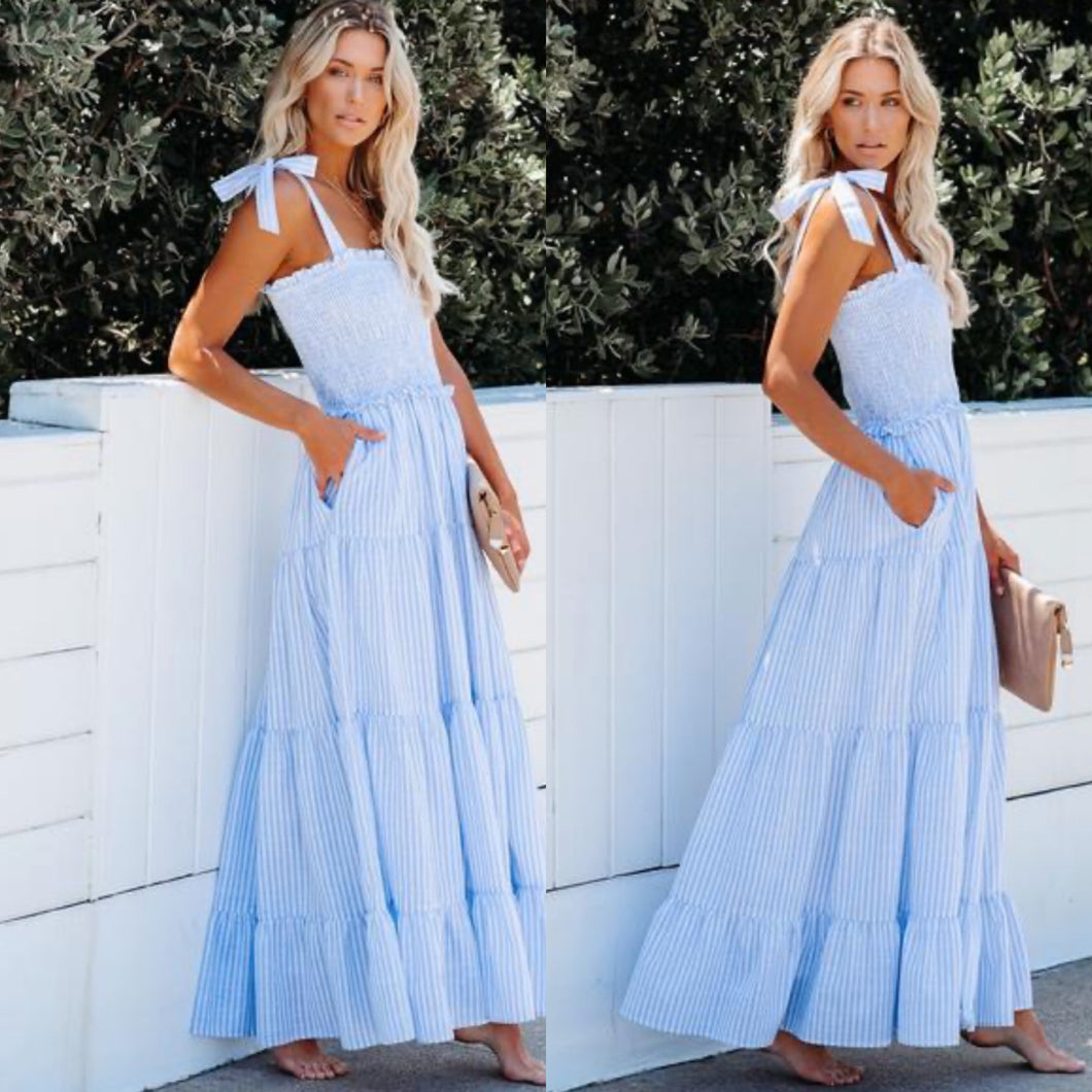 Nautical cotton tiered maxi