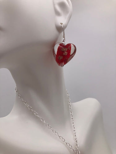 Red with Copper-Colored Glitter Heart Beaded Earrings